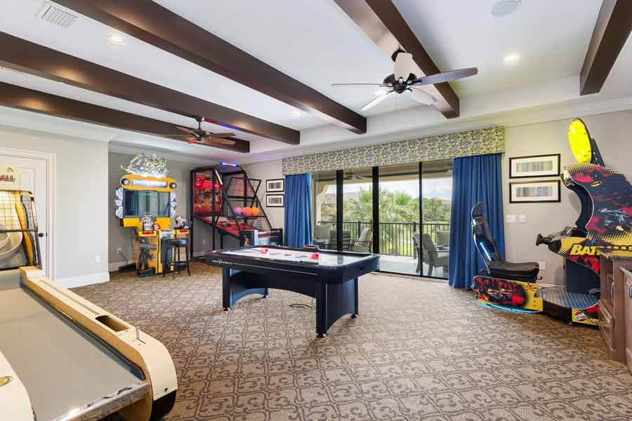spacious game room with pool table